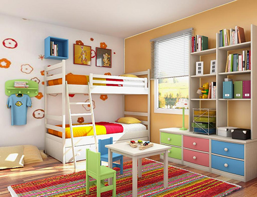 Detska izba pre 2 deti - poschodova postel