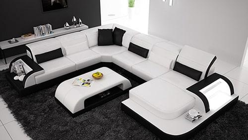 Biela moderná kožená sedačka