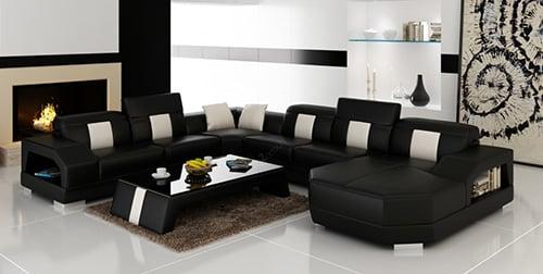 Čierna luxusná sedacia súprava