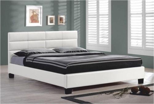 Biela čalúnená manželská posteľ
