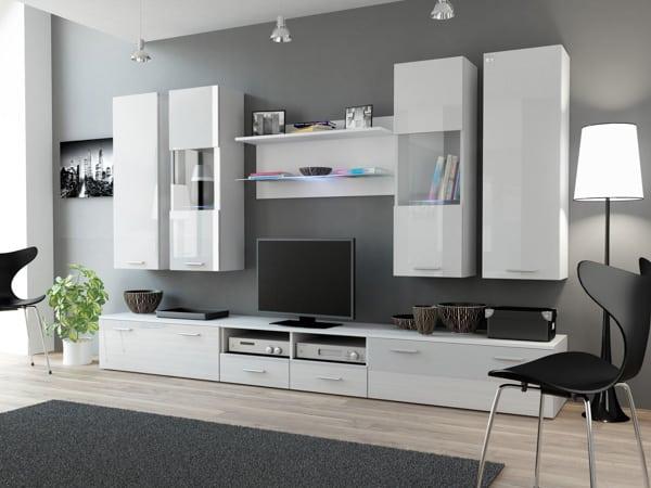 Biela moderná obývacia stena