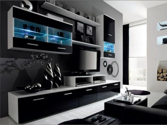 Moderná čierna obývacia stena